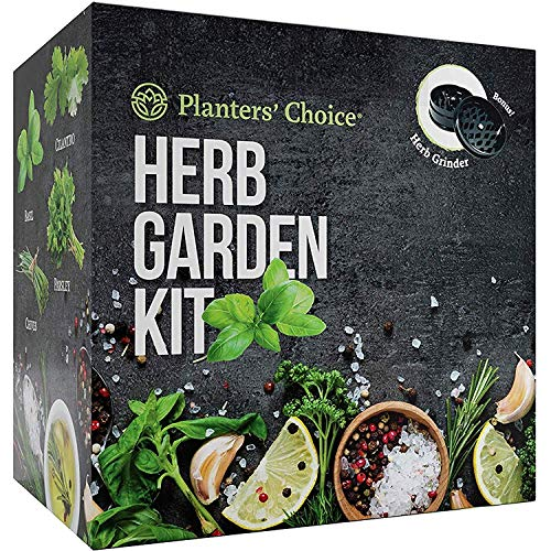 Planters' Choice Organic Herb Growing Kit + Herb Grinder - Complete Kit to Easily Grow 4 Herbs from Seed (Basil, Cilantro, Chives & Parsley) with Comprehensive Guide - Unique Gift (Herbs)