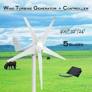 400W Power 12V / 24V 5 Blades Horizontal Wind Turbine Generator Kit With Controller