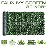Artificial Hedges Faux Ivy Leaves Fence Privacy Screen Panels Decorative Trellis - 39' x 98'