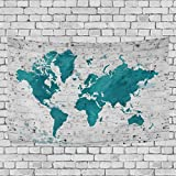 FORMRS Watercolor World Map Tapestry Wall Hanging Decor 90 x 60 Inches Teal Turquoise White,Dorm Bedspread Beach Throw Picnic Blanket,One Sided Printing