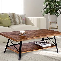 Olee Sleep 46″ Cocktail Wood & Metal Legs Coffee Table, Rustic Brown