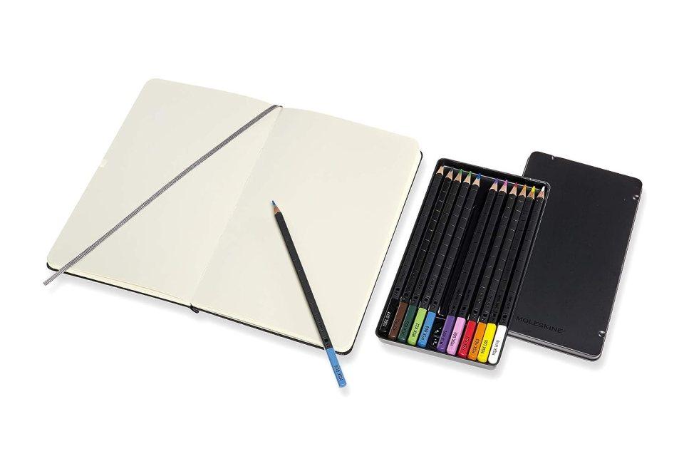 Moleskine art sketch journal and set of 12 watercolour pencils