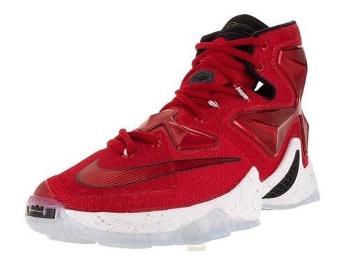 Nike Men's Lebron XIII Unvrsty Red/White/Blk/Lsr Orng Basketball Shoe - 10.5 D(M) US