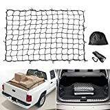 Cargo Net MICTUNING 5'x7' Heavy Duty Truck Bed Bungee Nets Stretches to 10'x14' with 16pcs D Shape Aluminum Carabiners Universal for Pickup Truck SUV Trailer Boat RV