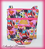 Girl Power Quilted Crossbody Bag and Coin Pouch Set, Crossbody Bag, Crossbody Bag and Coin Pouch, Wonder Woman, Bat Girl, Super Girl Crossbody Bag, Quilted Bag
