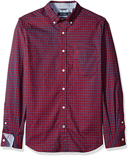 61UfHCu2fFL Wrinkle-resistant finish and a plaid pattern Button-front styling with a buttoned collar Long sleeves with adjustable double-button cuffs