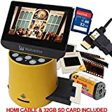 Wolverine Titan 8-in-1 20MP High Resolution Film to Digital Converter with 4.3' Screen and HDMI output, Worldwide Voltage 110V/240V AC Adapter, 32GB SD Card & 6ft HDMI Cable (Bundle)