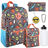 Boy's 6 in 1 Backpack Set Including A Backpack, Lunch Bag, Pencil Case, Water Bottle, Keychain, And Clip (Emoji)