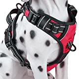PoyPet No Pull Dog Harness, [2018 Upgrade Edition] Reflective Vest Harness with Front & Back 2 Leash Attachments and Easy Control Handle for Small Medium Large Dog (M, Red)
