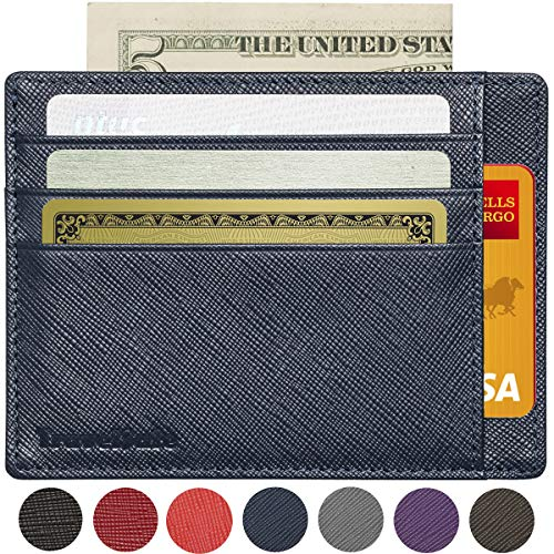 RFID Blocking Credit Card Holder Genuine Leather - Slim & Thin 8 Card Slots RFID Credit Card Holder for Women and Men - Minimalist Front Pocket Wallet Design Protects All Credit, ID Cards (Blue)