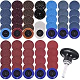 SIQUK 60 Pcs Sanding Discs Set 2 inches Quick Change Disc with 1/4 inch Tray Holder for Surface Prep Strip Grind Polish Finish Burr Rust Paint Removal