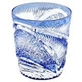 Edo Kiriko Crystal Double Old Fashioned Glass, 8.4oz Cut Glass Hisho Skyward - Blue [Japanese Crafts Sakura]