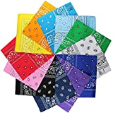 LM 12Pcs Bandanas 100% Cotton Paisley Print Head Wrap Scarf Wristband (Multi Color)