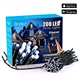Brizled LED Christmas Lights, 200 LED 65ft Dimmable Mini String Lights, Bluetooth LED Lights Controlled by iOS & Android Devices, Ideal for Wedding, Bedroom, Holiday and Party Decorations, Cool White