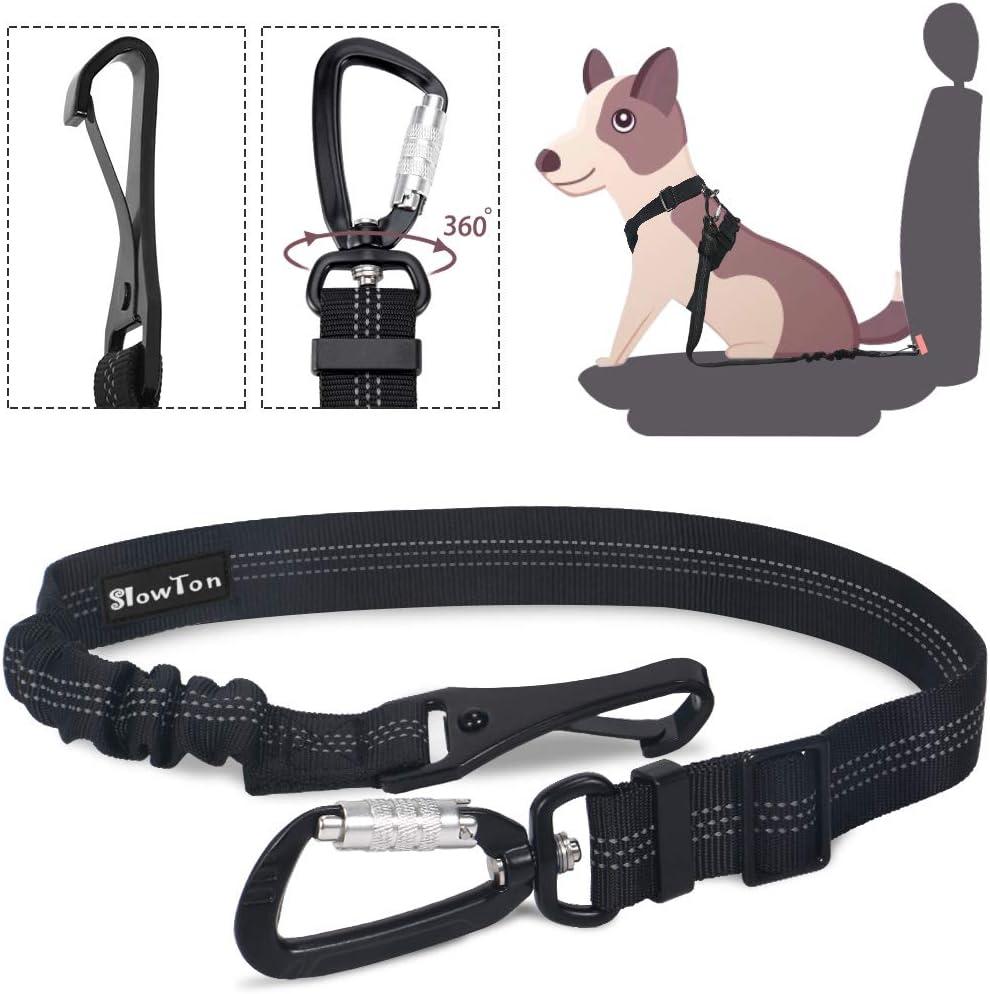 SlowTon Cinturón Perro Coche, Mascotas Cinturón de Seguridad para Perro - Ajustable,Hebilla Universal de Nylon para Mascotas de Viajes