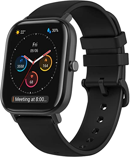 "Amazfit GTS Fitness Smartwatch with Heart Rate Monitor, 14-Day Battery Life, Music Control, 1.65"" Display, Sleep and Swim Tracking, GPS, Water Resistant, Smart Notifications, Obsidian Black"