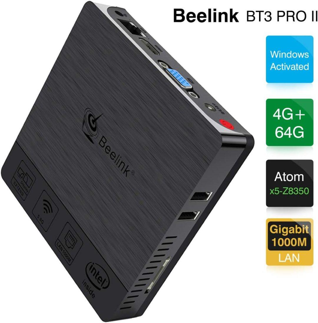 Beelink BT3 Pro II Mini PC Computer Windows 10 4 Go de RAM DDR3 + 64 Go de ROM eMMC Processeur: Intel x5-Z8350 WiFi Double 2.4G+5.8G 1000 Mbps Prise en Charge 4K H.265 BT Assemblé Couleur Noire