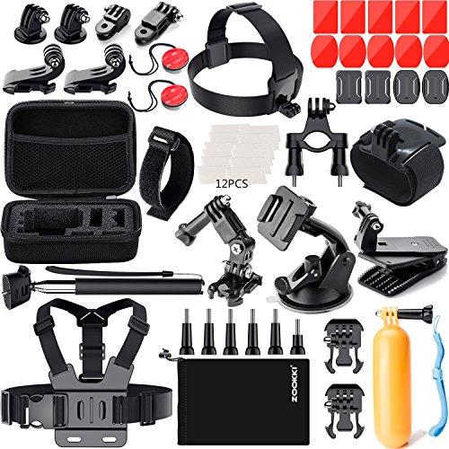 ZOOKKI Accessories Kit for GoPro 6 Hero 5 Session 4 Silver 3 Black SJ4000/SJ5000/SJ5000X/SJ6 LEGEND/SJ7 Sports Camera Accessories Set for Xiaomi Yi 4K/Lightdow/DBPOWER/dOvOb