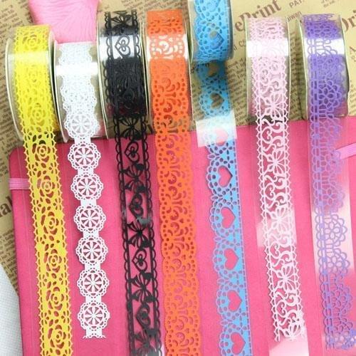 Washi Tape, Windspeed 5 Roll Lace Flower DIY Decorative Masking Sticky Adhesive Tape for Scrapbooking & Phone DIY Decoration