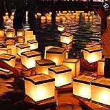 Aketek 20 Pack Square Chinese Lanterns Wishing, Praying, Floating, River Paper Candle Light