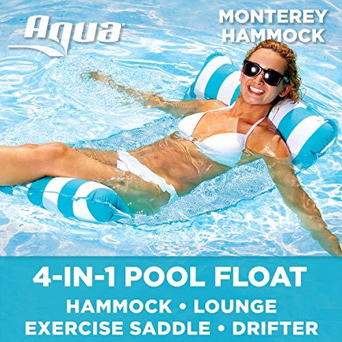 Aqua Monterey 4-in-1 Multi-Purpose Inflatable Hammock (Saddle, Lounge Chair, Hammock, Drifter) Portable Pool Float, Light Blue/White Stripe
