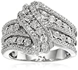 Sterling Silver Diamond 3 Row Twist Fashion Band Ring (1/10 cttw), Size 7