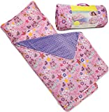Kids Nap Mat with Removable Pillow - Soft, Lightweight Mats, Easy Clean Toddler Nap Pad for Preschool, Daycare, Kindergarten - Children Sleeping Bag (Pink with Princess Design) by Bambino Bliss