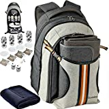 Scuddles 4 Person Picnic Backpack - With SOLID Stainless Steel Utensils, Oversized Water Resistant Fleece Blanket, Cooler Compartment, Holders Wine Bottles in a Modern Designed Backpack