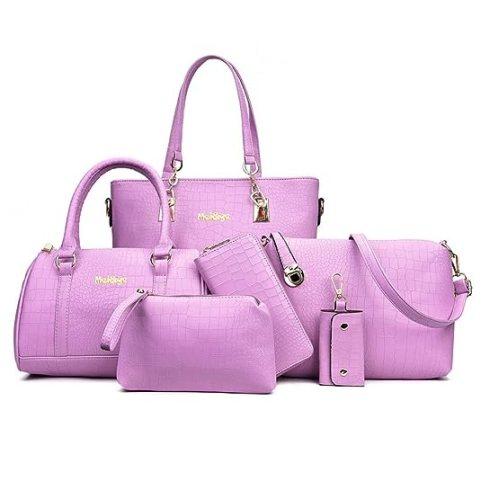 H&X FASHION H&X Women Totes 6 Pcs Shoulder Bags Top-Handle Handbag Purse Set (Stone Light purple)
