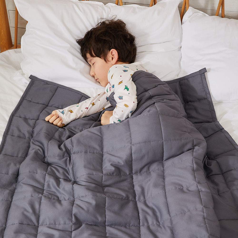 ZonLi 100% Cotton Kids Weighted Blanket 5 lbs(36''x48'', Grey), Cooling Weighted Blanket for Kids, Soft Material with Glass Beads