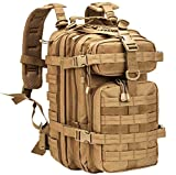WolfWarriorX Military Tactical Assault Backpack Hiking Bag Extreme Water Resistant Small Rucksack Molle Bug Out Bag for Traveling, Camping, Trekking & Hiking (Coyote)