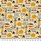 Thanksgiving Dinner Party Cotton Fabric by The Yard