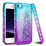 iPhone 5S Case, iPhone SE/iPhone 5 Case, Ruky [Gradient Quicksand Series] Glitter Flowing Liquid Floating Sparkle Bling Diamond Soft TPU Girls Women Cute Case for iPhone 5/5S/SE - Aqua&Purple