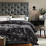 Chanasya Faux Fur Bed Blanket | Super Soft Fuzzy Light Weight Luxurious Cozy Warm Fluffy Plush Hypoallergenic Throw Blanket for Bed Couch Chair Fall Winter Spring Living Room (Queen)- Dark Grey