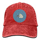 Qbeir Working Hard Bear Adjustable Adult Cowboy Cotton Denim Hat Sunscreen Fishing Outdoors Retro Visor Cap