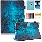 Dteck iPad 9.7 Inch 2018 2017/iPad Air 2/iPad Air Case - Multi-Angle Folio Stand Cover with Auto Sleep/Wake Function Wallet Protective Case for Apple iPad 9.7 2017/2018, iPad Air 1 2,Mysterious Forest