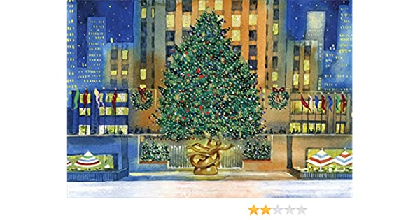 Amazon Com Rockefeller Center Tree Box Of 18 New York City Christmas Cards By Designer Greetings Office Products