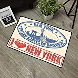 Bathroom Door mat W35 x L47 INCH Retro Poster,Vintage I Love New York with Statue of Liberty Grunge Rubber Stamps Design,Blue Orange Non-Slip, with Non-Slip Backing,Non-Slip Door Mat Carpet