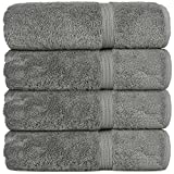 Chakir Turkish Linens Long-Stable Turkish Cotton 4-Piece Bath Towels, Eco-Friendly, (Gray)