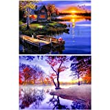 2 Pack 5D DIY Diamond Painting Kits Full Drill Diamond Painting Wall Decoration Rhinestone Diamond Embroidery Paintings Beautiful Scenery for Living Home Decoration (40X30CM/16X12inch)