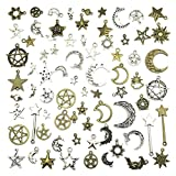 Celestial Mixed Sun Moon Star Charms, JIALEEY Wholesale Bulk Lots Antique Alloy Charms Pendants DIY for Necklace Bracelet Jewelry Making and Crafting, 100g(74PCS)