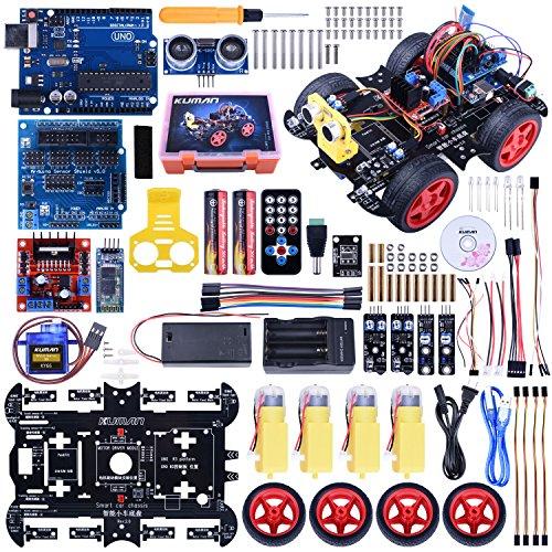 Kuman Uno R3 Bluetooth RC Smart Robot Car Kit, Robotics Kit with Line Tracking Module, Ultrasonic Sensor, Servo Motor, LED, Buzzer Horn Arduino project Beginner (Uno R3 RC Smart Robot Car Kit)