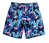 WUAMBO Mens Flamingo Board Shorts Ultra Quick Dry Swim Trunks Bathing Suit with Mesh Lining,Pockets/X-Large (Waist:33'-35')