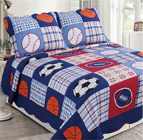 Golden Linens 3 pcs (1 Quilt, 2 Pillow Cases) Reversible Printed Kids Bedspread Sport American Football, Baseball and Basketball # Full (26)