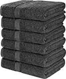 Utopia Towels Cotton Bath Towels, 6 Pack, (22 x 44 Inches), Pool Towels and Gym Towels, Grey