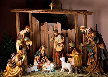 Amazon Com Aofoto 7x5ft Christmas Night Nativity Scene Backdrop Holy Family Figurine Birth Of Baby Jesus Christ Child Mary Joseph Shabby Stable Manger Background Christian Xmas Eve Bible Photo Studio Props Vinyl