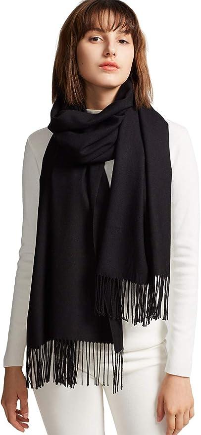 MaaMgic Womens Large Soft Cashmere Feel Pashmina Shawls Wraps Winter Light Scarf ( Black , One Size )