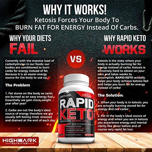 Rapid Keto Diet Pills | Advanced Ketogenic Diet Weight Loss Supplement | BHB Salts Exogenous Ketones Capsules for Men & Women | Fast & Effective Ketosis Diet Fat Burner | Instant Keto Boost | 60 6