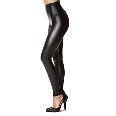 "Tagoo Women's Stretchy Faux Leather Leggings Pants, Sexy Black High Waisted Tights (M(1-Pack) Fit Waist 28""-30""/ Hips 37""- 41"")"