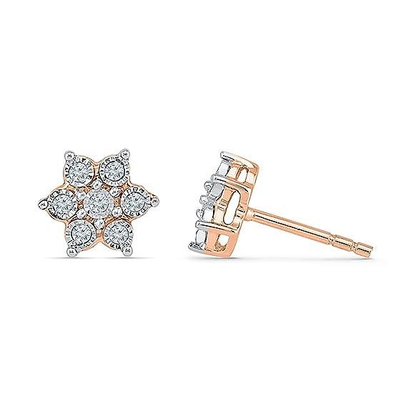 Bevilles 9ct Rose Gold 0.10ct Diamond Star Stud Earrings